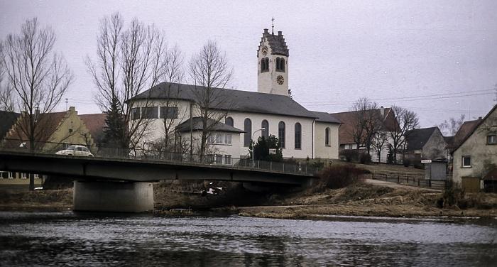 Donau, Donaubrücke, Kirche St. Johannes der Täufer Donaueschingen 1982