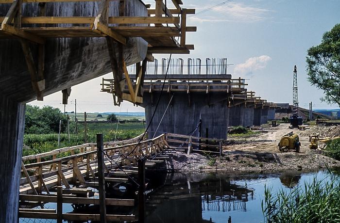 Bau der Donaubrücke Bundesstraße B 31/33 Donaueschingen 1982