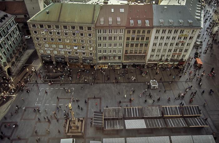 Blick vom Rathausturm (Neues Rathaus): Marienplatz München 1984