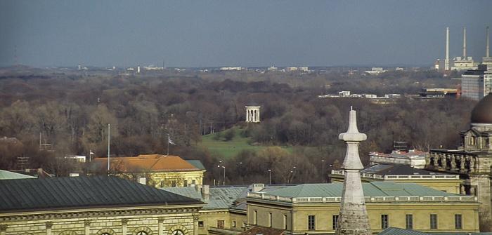 Blick vom Rathausturm (Neues Rathaus): Englischer Garten mit Monopterus München 1984