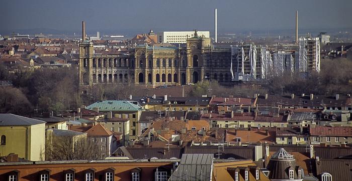 Blick vom Rathausturm (Neues Rathaus): Lehel, Maximilianeum München 1984