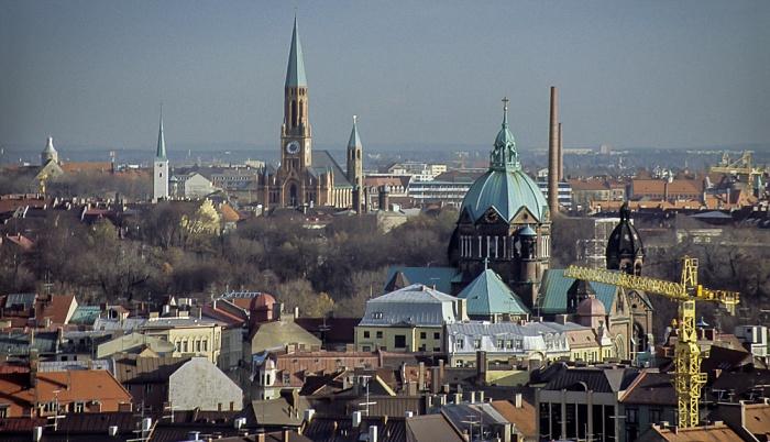 Blick vom Rathausturm (Neues Rathaus): Lehel (unten), Haidhausen München 1984