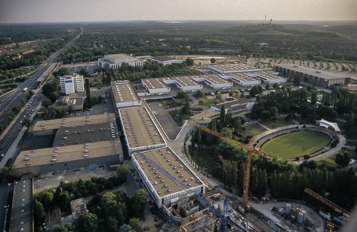 Blick vom Funkturm: Messehallen Berlin 1985