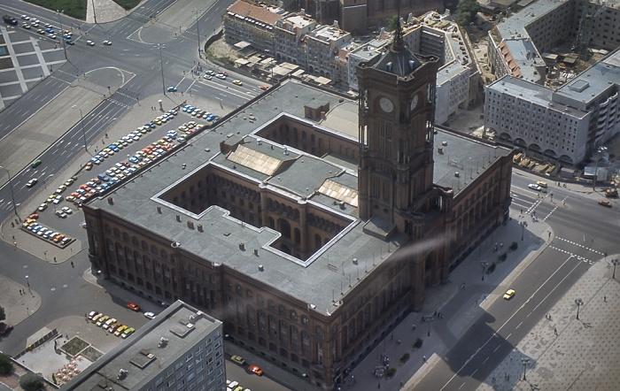 Blick vom Fernsehturm: Mitte - Rotes Rathaus Berlin 1985