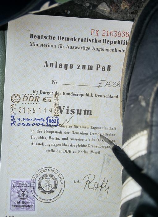 Eintagesvisum für den Besuch in Ost-Berlin: Vorderseite