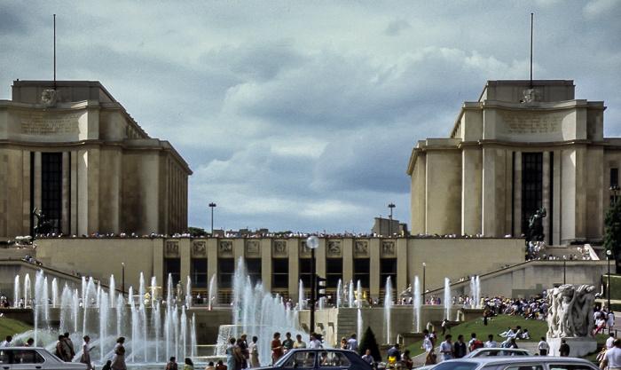 Trocadéro: Fontaine du Trocadéro, Palais de Chaillot Paris 1985