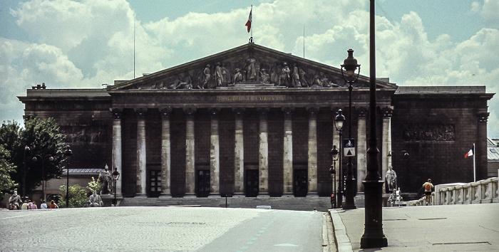 Pont de la Concorde, Palais Bourbon (Nationalversammlung) Paris 1985