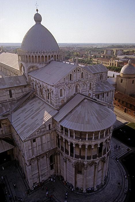 Pisa Piazza dei Miracoli (Platz der Wunder): Blick vom Schiefen Turm (Campanile) Dom Schiefer Turm