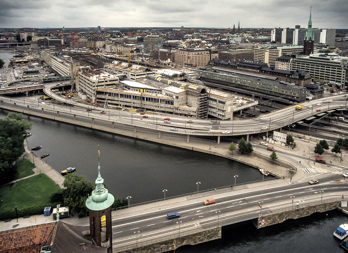 Blick vom Stadshuset (Rathaus): Norrmalm (City) Stockholm 1986