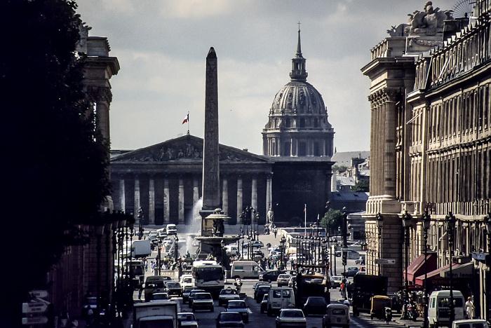 Place de la Concorde mit dem Obelisk von Luxor, Pont de la Concorde, Palais Bourbon (Nationalversammlung) Paris 1986