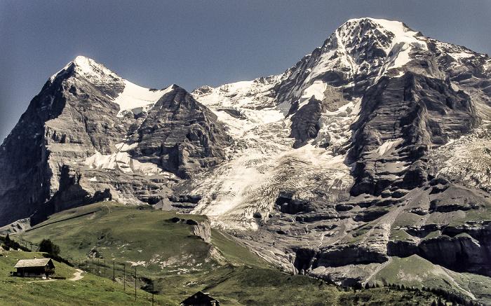 Kleine Scheidegg V.l.: Eiger (mit Nordwand), Eigergletscher, Mönch