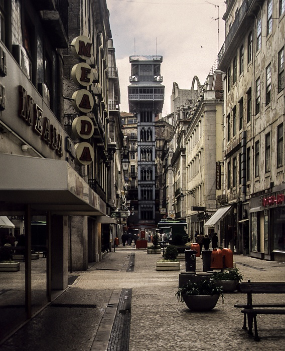 Baixa: Rua de Santa Justa, Elevador de Santa Justa Lissabon 1988