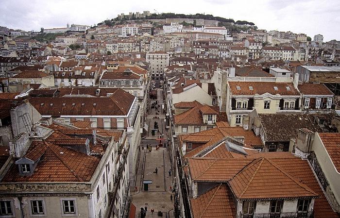 Blick vom Elevador de Santa Justa: Baixa - Rua da Santa Justa Lissabon 1988