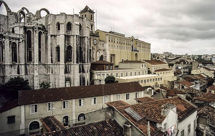 Blick vom Elevador de Santa Justa: Bairro Alto - Igreja do Carmo Lissabon 1988