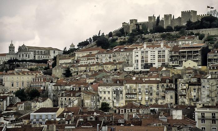 Blick vom Elevador de Santa Justa: Convento da Graça (links) und das Castelo de São Jorge Lissabon 1988