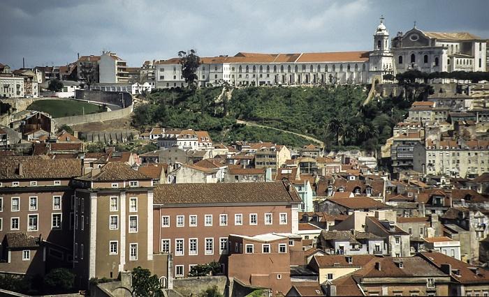 Blick vom Miradouro de São Pedro de Alcântara: Convento da Graça mit der Igreja da Graça Lissabon 1988