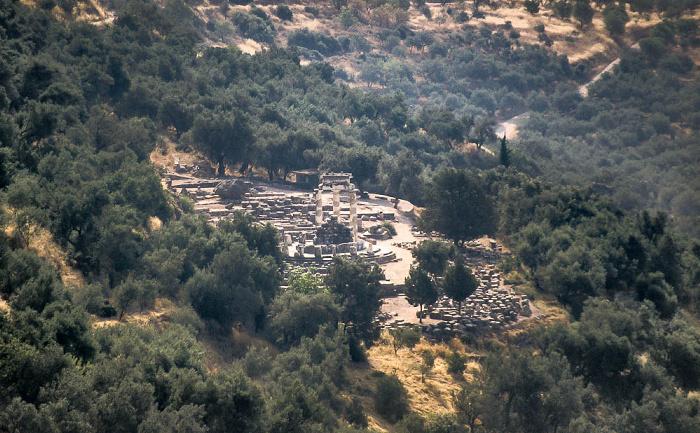 Delphi Heiligtum der Athena Pronaia: Tholos von Marmaria und Athenatempel, Tals des Xeropotamos (Pleistos)