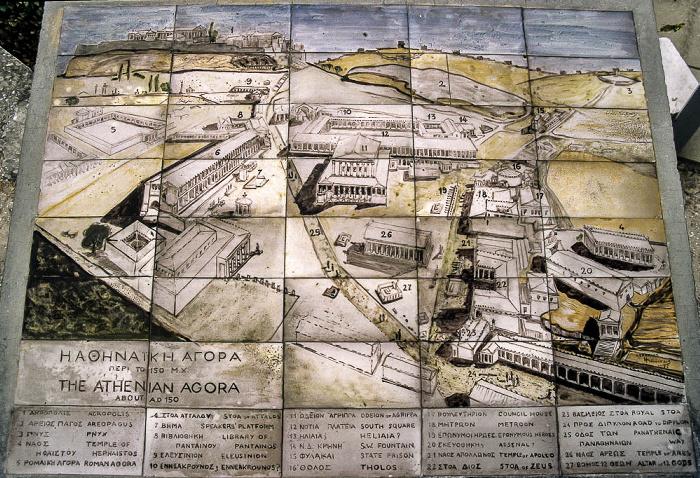 Plan der Antiken Agora von Athen Athen 1988
