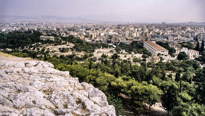 Blick von der Akropolis: Antike Agora von Athen Athen 1988