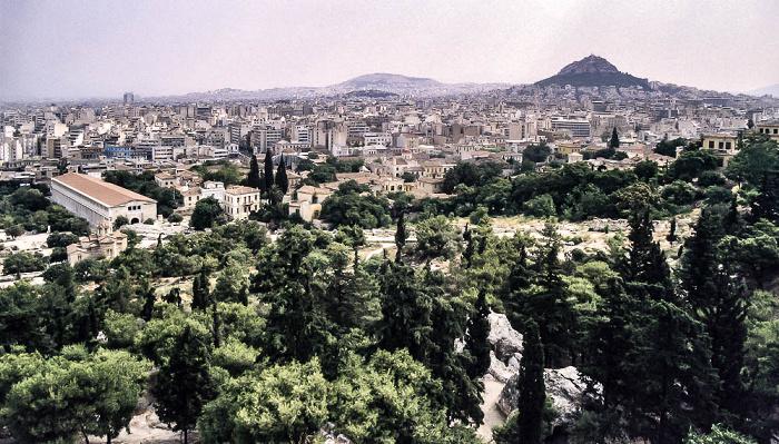 Blick von der Akropolis: Römische Agora Athen 1988