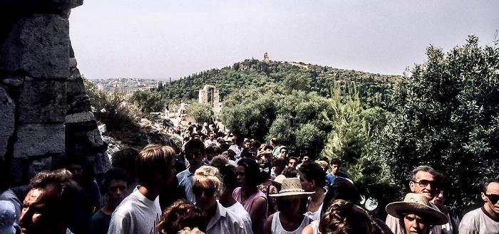 Besucherschlange an der Akropolis Athen 1988
