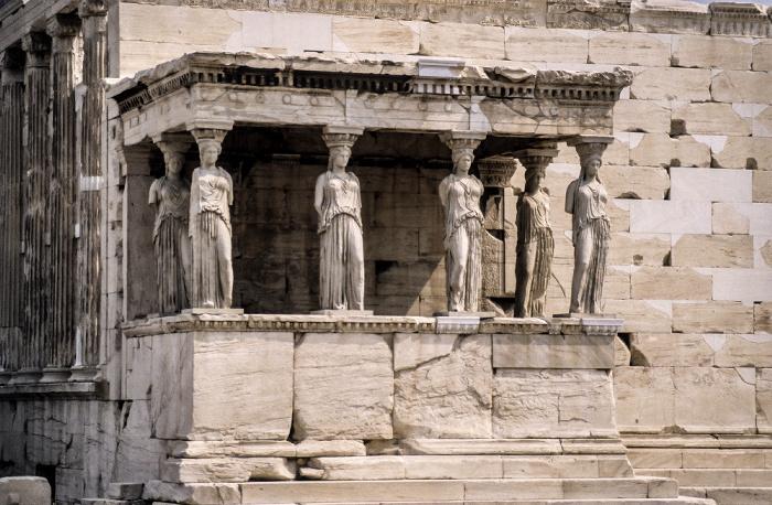 Akropolis: Erechtheion mit den Karyatiden Athen 1988