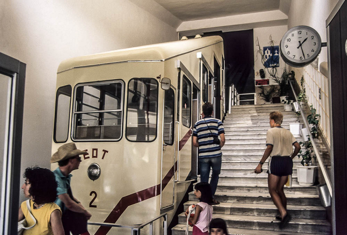 Lykabettus (Lykavittós): Talstation der Standseilbahn Athen 1988