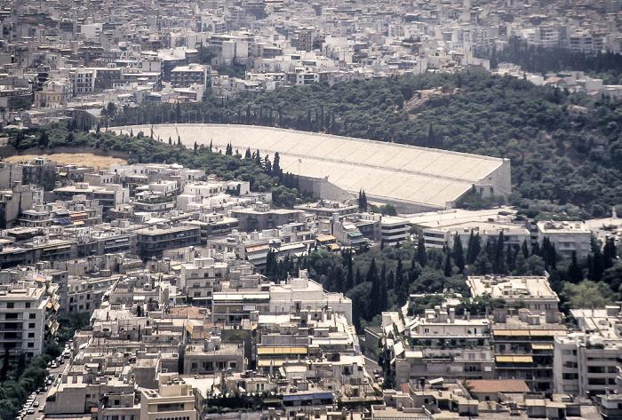 Blick vom Lykabettus (Lykavittós): Panathinaiko-Stadion Athen 1988