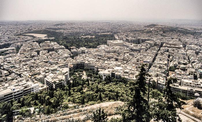 Athen Blick vom Lykabettus (Lykavittós): Panathinaiko-Stadion, Nationalgarten, Griechisches Parlamentsgebäude, Akropolis