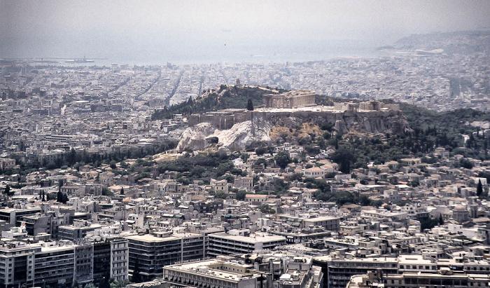 Blick vom Lykabettus (Lykavittós): Akropolis Athen 1988