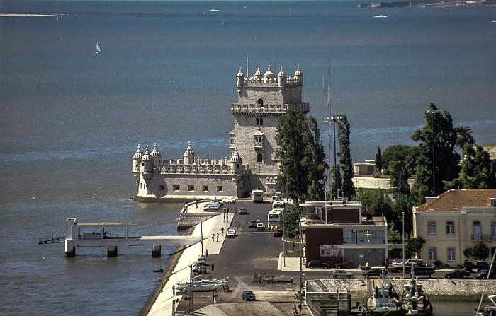 Belém: Blick vom Padrão dos Descobrimentos - Torre de Belém, Tejo Lissabon 1992
