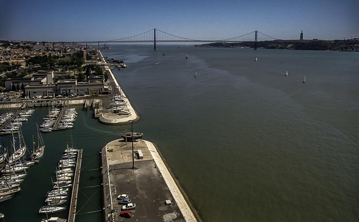 Belém: Blick vom Padrão dos Descobrimentos - Tejo Lissabon 1992