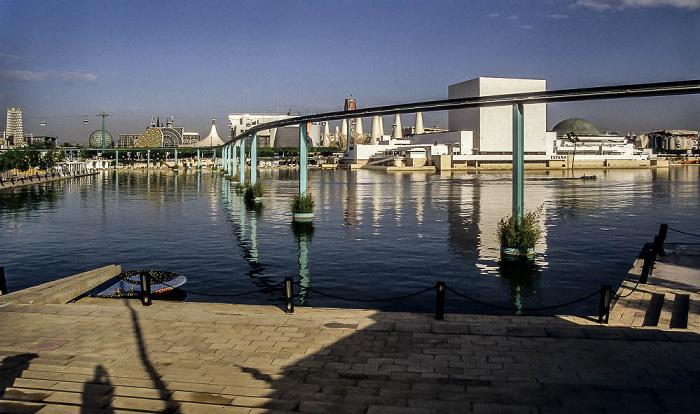 Sevilla EXPO '92: Lago de Espana mit der Monorail-Bahn Pavillon von Spanien