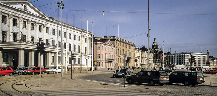 Von links: Rathaus, Schwedische Botschaft, Uspenski-Kathedrale, Hauptverwaltung von Stora Enso Helsinki 1993