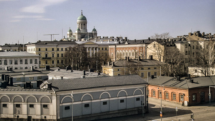Blick von der Uspenski-Kathedrale: Dom von Helsinki (Helsingin tuomiokirkko / Suurkirkko) Helsinki 1993