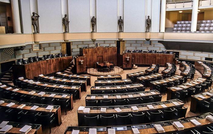 Helsinki Parlamentsgebäude (Eduskuntatalo, Riksdagshuset): Plenarsaal