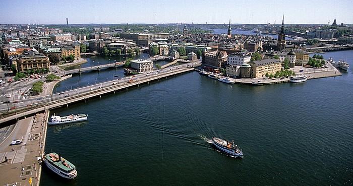 Blick vom Stadshuset (Rathaus): Altstadt Gamla stan und Riddarholmen Stockholm 1993