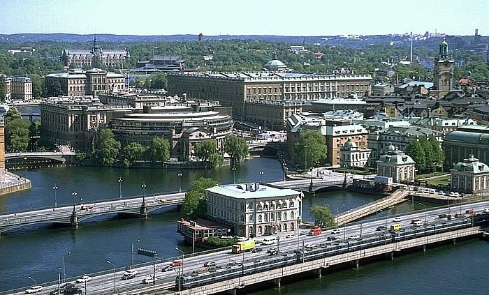 Blick vom Stadthaus: Gamla Stan (Altstadt) Stockholm 1993