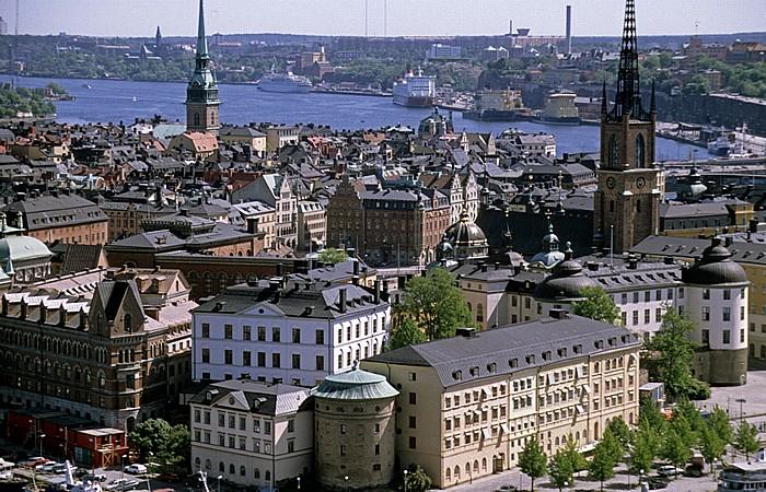 Blick vom Stadshuset (Rathaus): Altstadt Gamla stan Stockholm 1993
