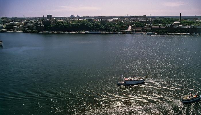 Blick vom Stadshuset (Rathaus): Södermalm, Riddarfjärden Stockholm 1993