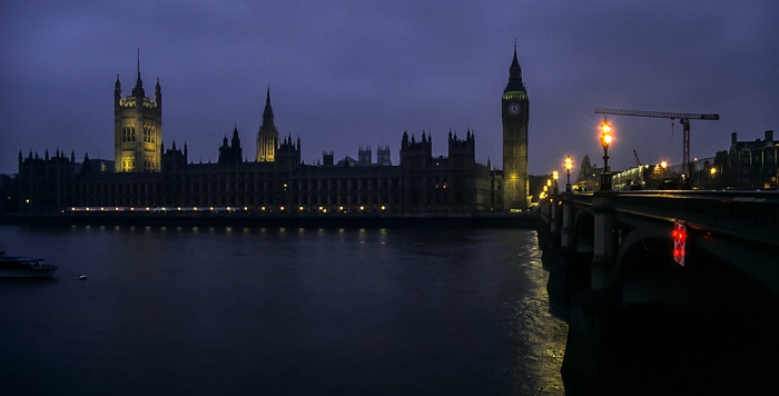 City of Westminster: Themse, Houses of Parliament, Big Ben, Westminster Bridge London 1995