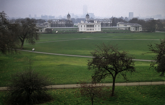 Greenwich: Blick vom Royal Greenwich Observatory London 1995