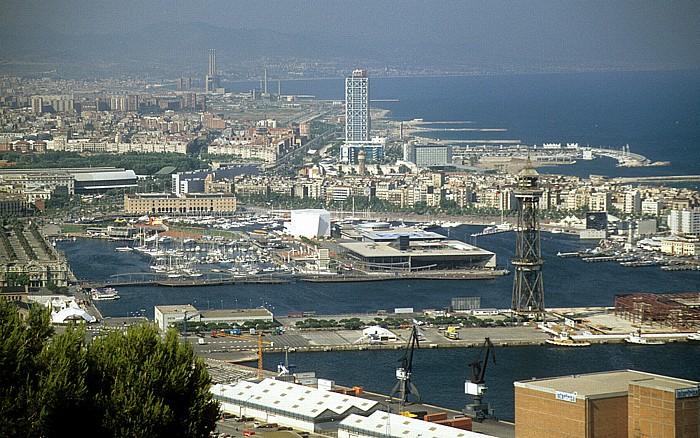 Blick vom Montjuïc: Hafen Barcelona