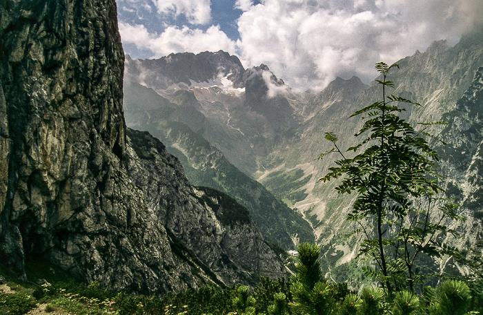 Hupfleitenjoch Blick auf Zugspitze und Höllental