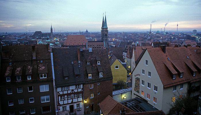 Nürnberg Blick von der Burg Fernmeldeturm St. Elisabeth St. Lorenz St. Sebald