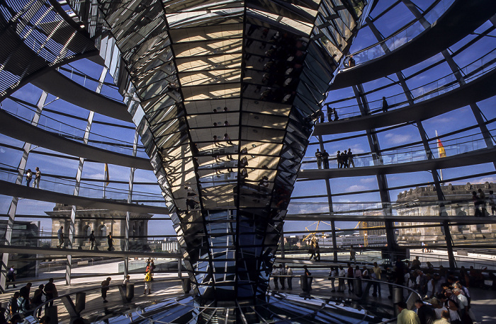 Dach des Reichstagsgebäudes: Gläserne Kuppel Berlin 2001