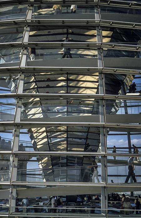 Dach des Reichstagsgebäude: Gläserne Kuppel Berlin 2001