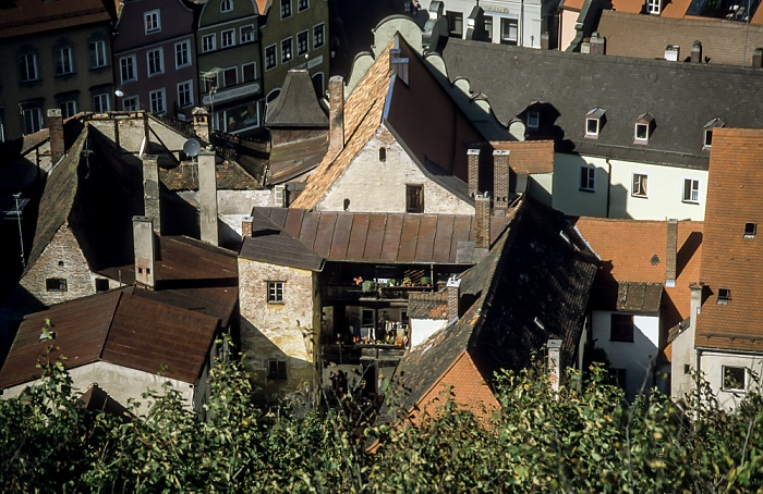 Blick von der Burg Trausnitz: Altstadt Landshut 2001
