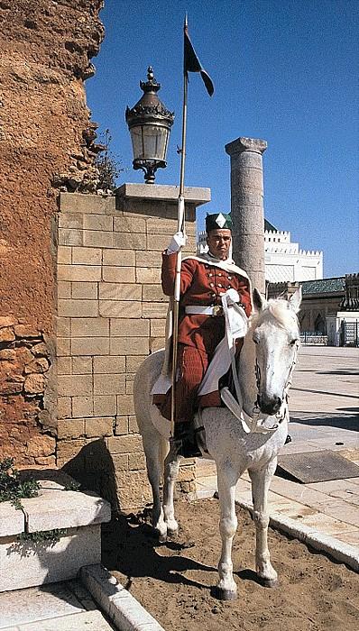 Rabat Wächter vor dem Mausoleum Mohammed V