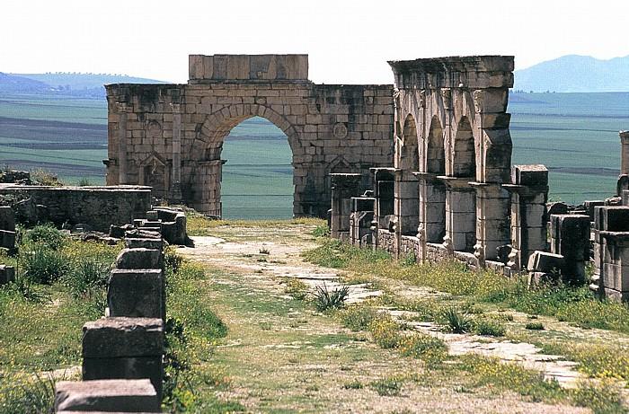 Volubilis Römische Ausgrabungen: Decumanus maximus und Triumphbogen